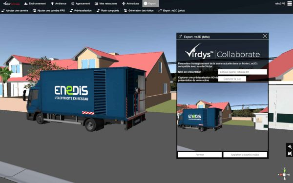 virdys Animate export environnement 3D vers virdys collaborate VR