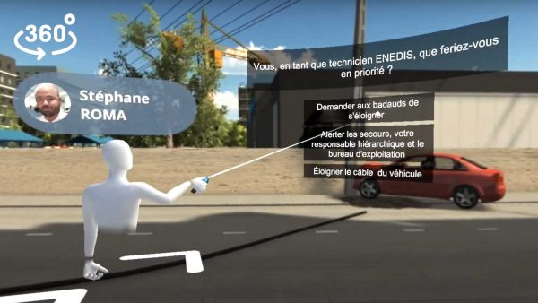 Virdys video 3D 360 interactive enedis accicent route serious game formation immersive
